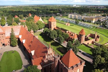 teutonic: Castello di Malbork in Pomerania regione della Polonia. UNESCO World Heritage Site. Fortezza dei Cavalieri Teutonici noto anche come Marienburg.