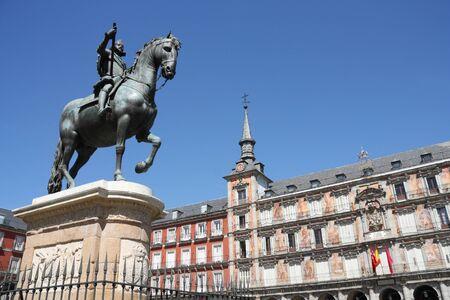 Architecture at Plaza Mayor (Main Square) in Madrid, Spain. Casa de la Panaderia. photo