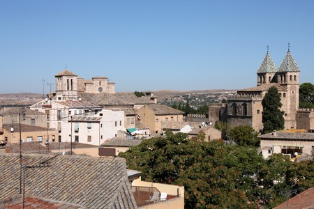 toledo town: Skyline of old town Toledo, Spain with prominent Bisagra Gate towers on the right