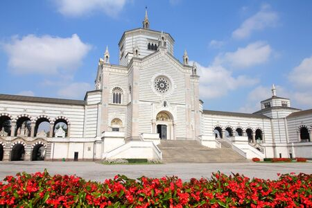 monumental: Milan, Italy. Famous landmark - Famedio chapel at the Monumental Cemetery (Cimitero Monumentale).