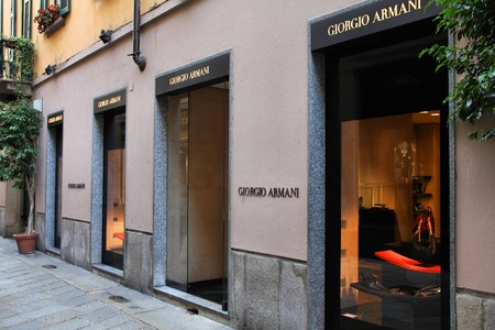 MILAN - OCTOBER 7: Armani store on October 7, 2010 in Milan. Forbes says that Armani was 8th most powerful luxury brand in the world in 2008 with $5.1bn value. Via della Spiga Stock Photo - 8028746