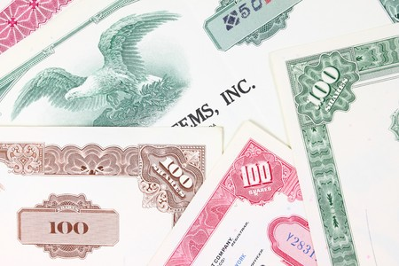Stock market collectibles. Old stock share certificates from 1950s-1970s (United States). Vintage scripophily objects (obsolete). Stock Photo - 8080227