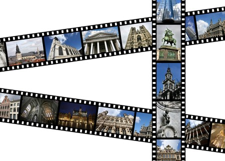 benelux: Illustration - film strips with travel memories. Brussels, Belgium. All photos taken by me, available also separately.