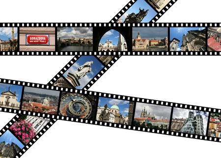 Film strips with travel photos. Prague, Czech Republic. All photos taken by me, filmstrip illustration made by me. Stock Illustration - 8080251