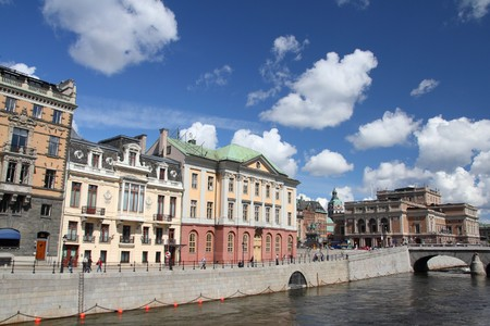 norrmalm: Stockholm, Sweden. Norrmalm borough, with famous Royal Swedish Opera building on the right.