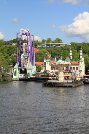 Stockholm, Sweden. Amusement park at famous Djurgarden island, the isle of gardens. photo