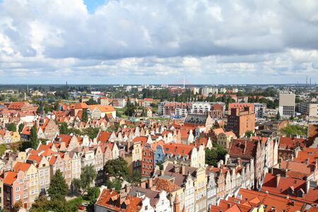 gdansk: Poland - Gdansk city (also know nas Danzig) in Pomerania region. Old town aerial view. Stock Photo