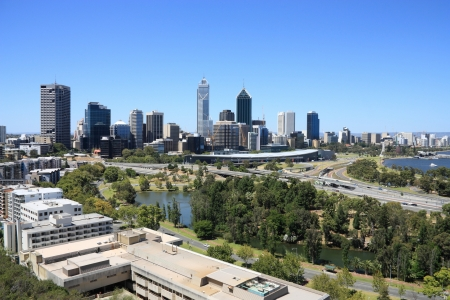 Perth skyline from Kings Park. Australian city view. Stock Photo