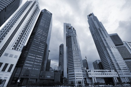 singapore building: Singapore skyline, Asia. Logos and names on skyscrapers removed. Stock Photo