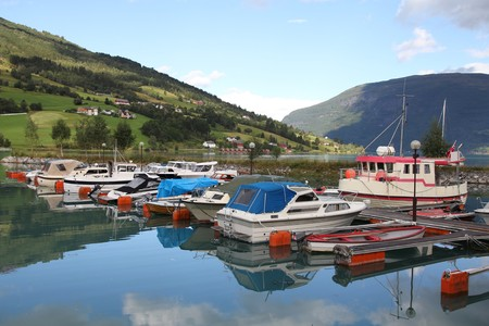 Norway, Sogn of Fjordane county. Fishing harbor, Nordfjord in Olden. Stock Photo - 8120439