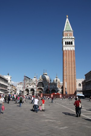 VENICE - SEPTEMBER 17: Crowds of tourists on September 17, 2009 in Saint Mark's square, Venice, Italy. According to Euromonitor Venice was the 26th most visited city in the world in 2006. Stock Photo - 8151655
