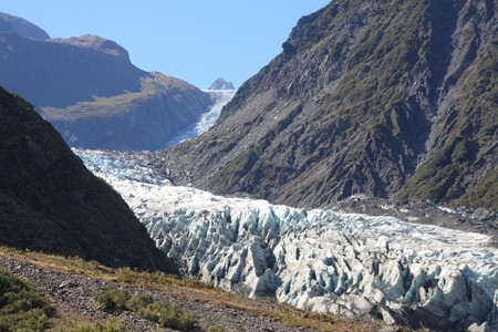 fox glacier: Fox Glacier in Westland National Park on the West Coast of New Zealands South Island Stock Photo