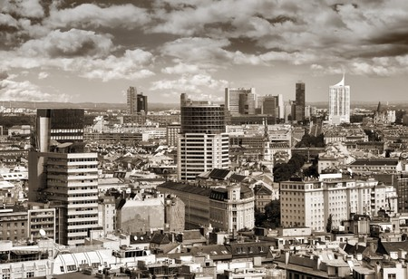 architectural architectonic: Vienna, Austria. Aerial view with the skyscraper district. Stock Photo