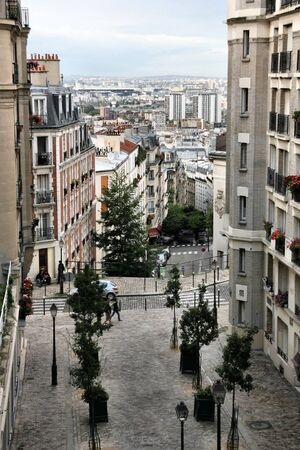 montmartre: Montmartre hill in Paris, France. Typical old town view. Stock Photo
