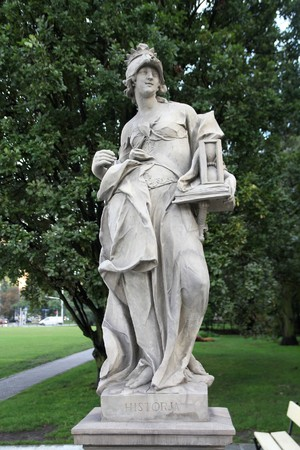 allegorical: Warsaw, Poland. Sandstone sculpture in famous Saxon Garden (Ogrod Saski), allegorical depiction of History. Made by anonymous author before 1745.
