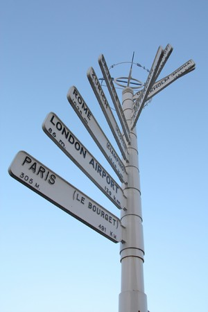 Direction signs showing various European airports and their distance from Birmingham, England. Zurich, Rome, London and Paris. photo