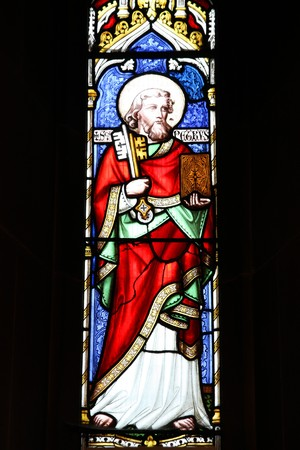 saint peter: Wolverhampton in West Midlands, England. Saint Peter stained glass in St. Peters Collegiate Church. Editorial