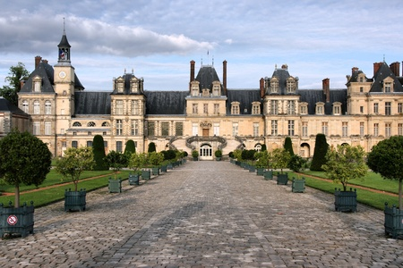 inscribed: Fontainebleau castle in France. Chateau is inscribed to UNESCO world heritage list. Stock Photo