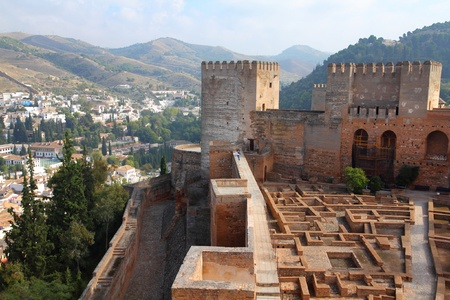 Granada in Andalusia region of Spain. Alhambra castle, Nasrid palace. UNESCO World Heritage Site.