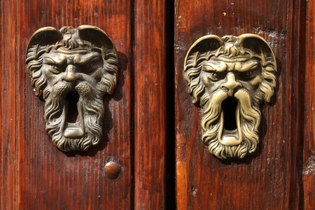 Decorative brass keyhole. Architecture detail in Modena, Italy - Emilia-Romagna region. Stock Photo - 8239656