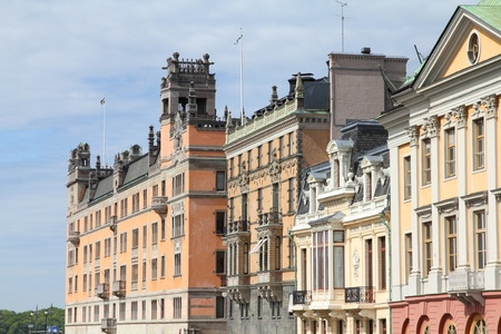 norrmalm: Stockholm, Sweden. Norrmalm borough, with colorful old architecture.