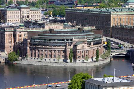 Stockholm, Sweden. Aerial view of Riksdag (parliament) building at Helgeandsholmen island. photo