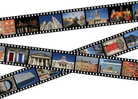 Tiras de película con fotos de viajes. Dublín, Irlanda, Europa.