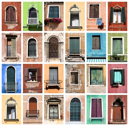 Colorful collage made of windows from Venice, Italy photo