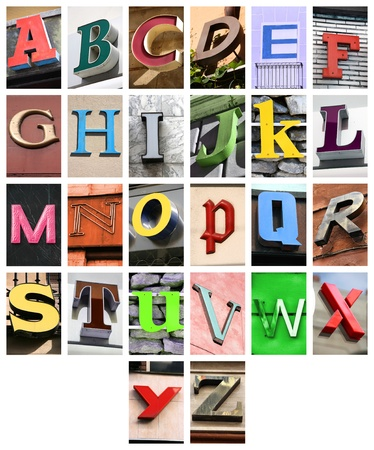 collage alphabet: City ABC - alphabet collage. Colorful letters font from urban buildings.