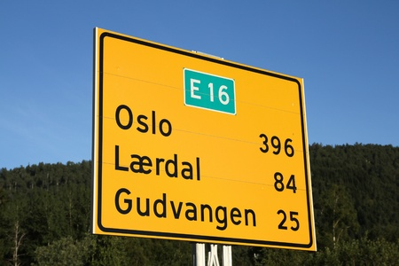 Norway - road directions sign to major tourism destinations: Oslo, Laerdal and Gudvangen. photo