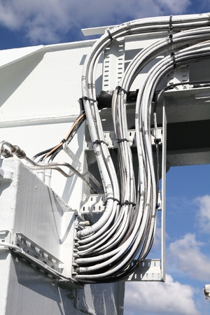 electrical wires: Cable bunch at a ferry. Electrical wires. Stock Photo