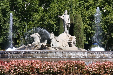 Fountain of Neptune (Fuente de Neptuno) - one of the most famous landmark of Madrid, Spain Stock Photo - 8370182