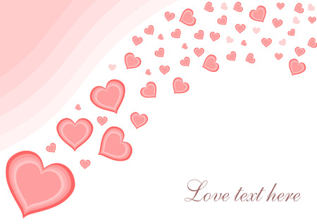 Hearts background - Valentines day illustration. Love card with copyspace. Vector