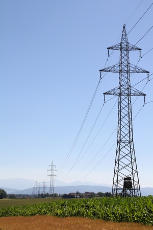 Austria - high tension electricity power lines in Upper Austria region. Stock Photo - 8406205