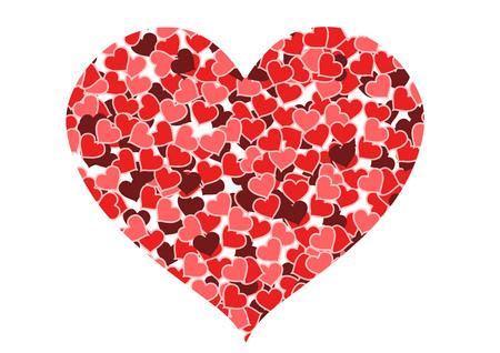 multitude: Amor y romance. Coraz�n de corazones aislados en blanco - d�a de San Valent�n de ilustraci�n.