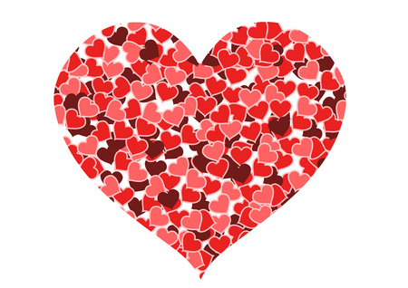 multitude: Love and romance. Heart made of hearts isolated on white - Valentines day illustration.