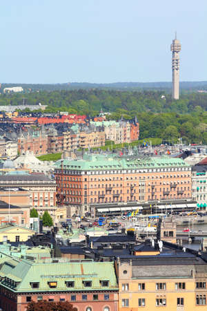 boroughs: Stockholm, Sweden. Aerial view of Norrmalm and Ostermalm boroughs with famous Kaknastornet TV tower in the background.