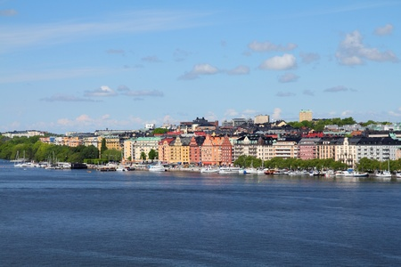 Stockholm, Sweden. Skyline of Kungsholmen island seen from Sodermalm island, across Riddarfjarden channel. Stock Photo - 8433038