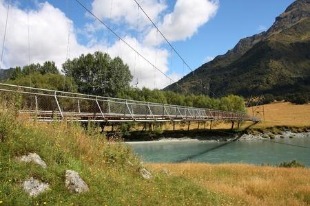 aotearoa: New Zealand - Mt Aspiring National Park. Touristic trail footbridge.