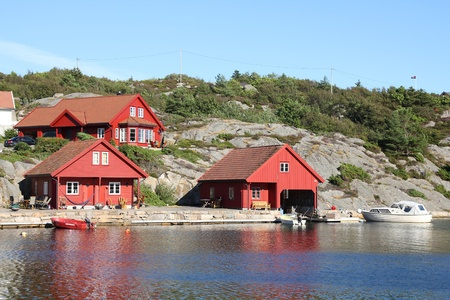 kristiansand: Norway - Skjernoy island in the region of Vest-Agder. Small fishing town - Dyrstad (also known as Dyrestad). Stock Photo