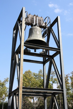Barcelona, Spain - Olympic Bell at Montjuic hill, famous landmark. Stock Photo - 8489364