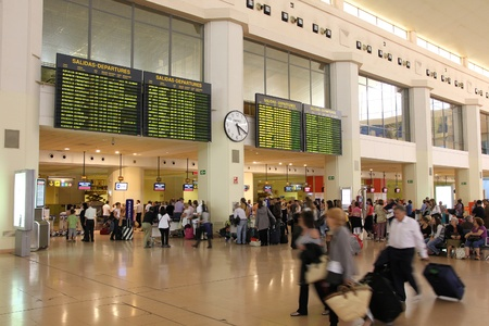 announced: MALAGA - OCTOBER 14: Travelers on October 14, 2010 at Malaga International Airport. Malaga, which was 4th busiest airport in Spain in 2009, had 10 new routes announced on November 3, 2010.