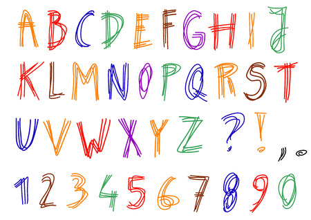 sketched: Hand written alphabet - scribbled, sketched letters isolated on white background. Handwriting font colorful illustration.