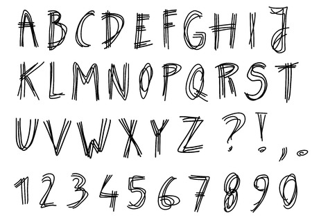 Hand written alphabet - scribbled, sketched letters isolated on white background. Handwriting font illustration. Ilustracja
