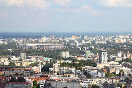 Warsaw, capital city of Poland - aerial view with National Stadium under construction (as of 2010). Stock Photo - 8542170