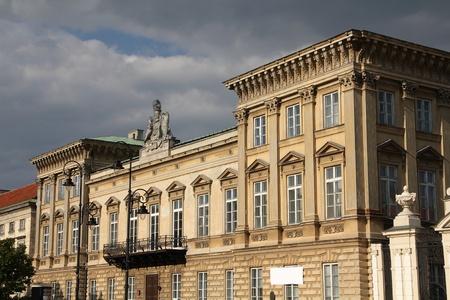 krakowskie przedmiescie: Warsaw, Poland - Uruski palace at famous Krakowskie Przedmiescie street. Stock Photo