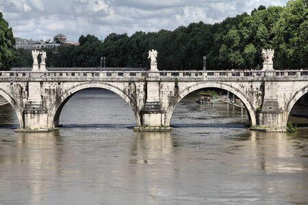 tevere: Rome, Italy. View of famous Sant Angelo Bridge. River Tevere. Stock Photo