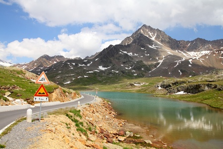 dei: Italy. Lake at Gavia Pass in Stelvio National Park. Ortler Alps. In background: Corno dei Tre Signori peak, 3360m high.