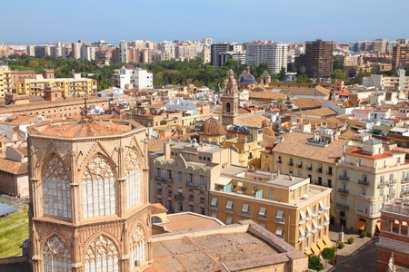 valencia: Valencia, Spain. Skyline seen from famous Cathedral Tower.