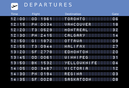 Departure board - destination airports. illustration - the letters and numbers for easy editing your own messages are embedded outside the viewing area. Canada destinations: Toronto, Vancouver, Montreal, Ottawa, Calgary, Halifax, Edmonton, Winnipeg, Yello Vector